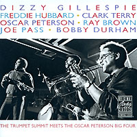Обложка альбома «Gillespie. Hubbard. Terry. Peterson. The Trumpet Summit Meets The Oscar Peterson Big Four» (1990)