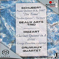 Обложка альбома «Schubert. Piano Quintet In A «The Trout». Mozart. Clarinet Quintet In A. Beaux Arts Trio. Grumiaux Quartet» (Beaux Arts Trio, Grumiaux Quartet, 2006)