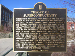 A commemorative plaque remembering Bardeen and the Theory of Superconductivity, at the University of Illinois at Urbana-Champaign campus